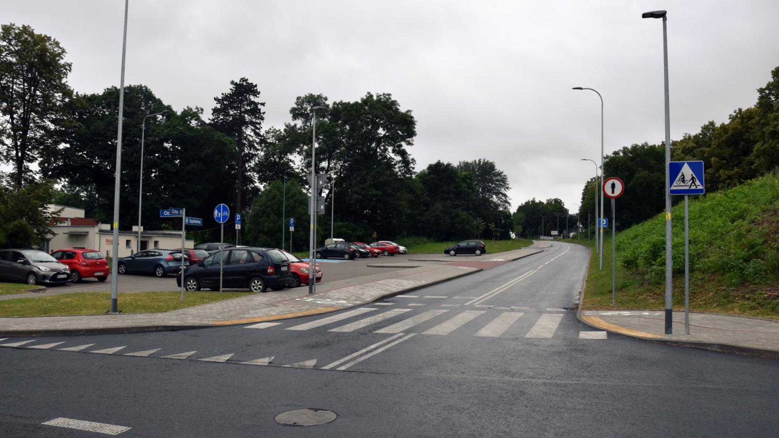Skrzyżowanie ulicy Cichej i Szpitalnej po remoncie